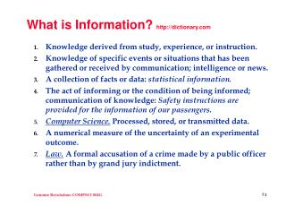 What is Information?  dictionary
