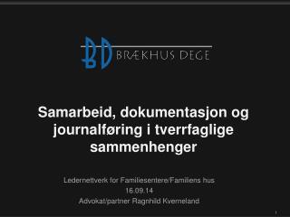 Samarbeid ,  dokumentasjon og journalføring i tverrfaglige sammenhenger