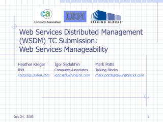Web Services Distributed Management (WSDM) TC Submission: Web Services Manageability