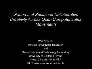 Patterns of Sustained Collaborative Creativity Across Open Computerization Movements