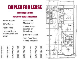 DUPLEX FOR LEASE In College Station For 2009 -2010 School Year