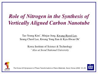 Role of Nitrogen in the Synthesis of Vertically Aligned Carbon Nanotube