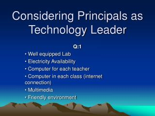 Considering Principals as Technology Leader