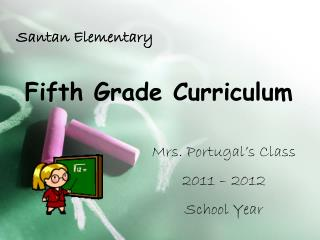 Fifth Grade Curriculum
