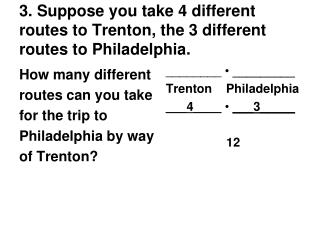 3. Suppose you take 4 different routes to Trenton, the 3 different routes to Philadelphia.