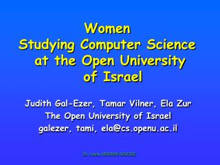 Women  Studying Computer Science  at the Open University  of Israel