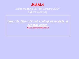 MAMA Malta meeting, 27-30 January 2004 Expert Meeting