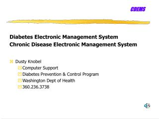 Diabetes Electronic Management System Chronic Disease Electronic Management System Dusty Knobel
