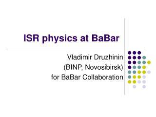 ISR physics at BaBar