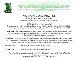 AUSTRALIA FEI ENDURANCE RIDE 160km 3 star and 110km 2 star