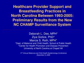 Deborah L. Dee, MPH* Ziya Gizlice, PhD^ Marcia S. Roth, MPH*