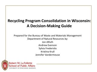 Recycling Program Consolidation in Wisconsin: A Decision-Making Guide