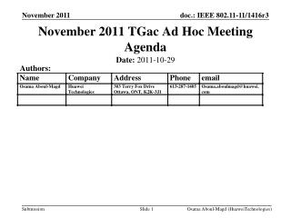 November 2011 TGac Ad Hoc Meeting Agenda
