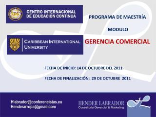 PROGRAMA DE MAESTRÍA MODULO GERENCIA COMERCIAL