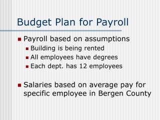 Budget Plan for Payroll
