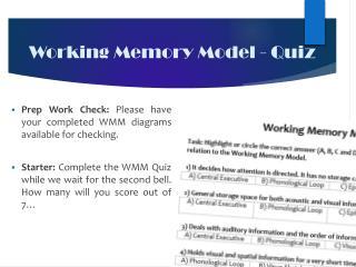 Working Memory Model - Quiz