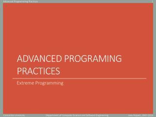 Advanced Programing practices