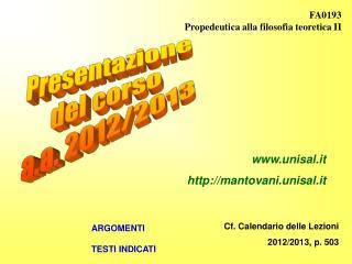 Presentazione del corso a.a. 2012/2013