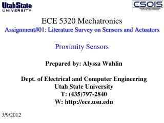 ECE 5320 Mechatronics Assignment#01: Literature Survey on Sensors and Actuators  Proximity Sensors