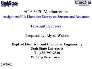 ECE 5320 Mechatronics Assignment#01: Literature Survey on Sensors and Actuators  Proximity Sensors