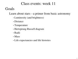 Class events: week 11