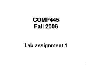 COMP445 Fall 2006