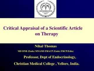 Critical Appraisal of a Scientific Article                               on Therapy