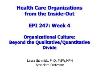 Laura Schmidt, PhD, MSW,MPH Associate Professor