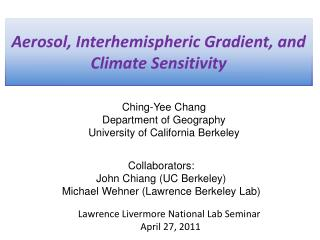 Aerosol, Interhemispheric Gradient, and Climate Sensitivity