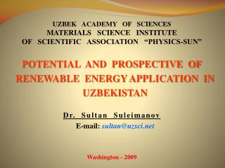 UZBEK   ACADEMY   OF   SCIENCES  Materials   Science   Institute