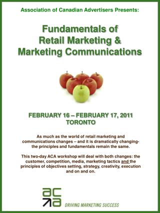Fundamentals of  Retail Marketing &  Marketing Communications