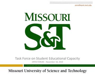 Task Force on Student Educational Capacity OPEN FORUM  –  November 18,  2010