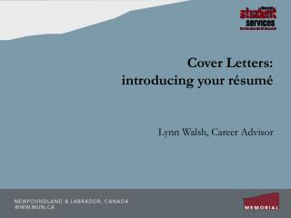 Cover Letters:  introducing your résumé