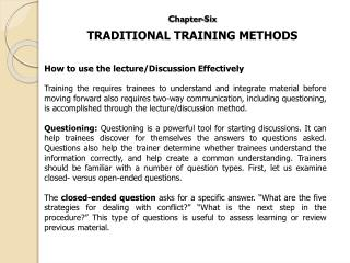 Chapter-Six TRADITIONAL TRAINING METHODS