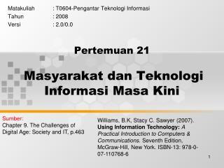 Pertemuan  21 Masyarakat dan Teknologi Informasi Masa Kini