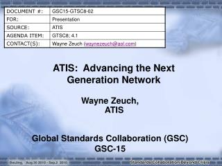 ATIS:  Advancing the Next Generation Network