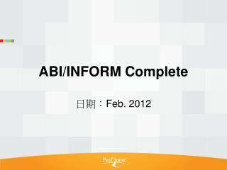 ABI/INFORM Complete