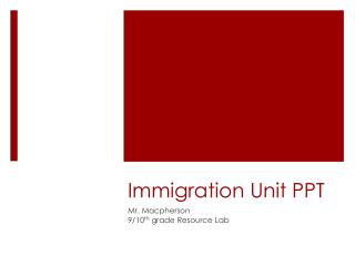 Immigration Unit PPT