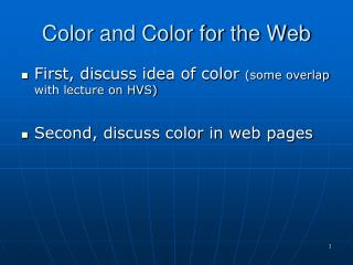 Color and Color for the Web