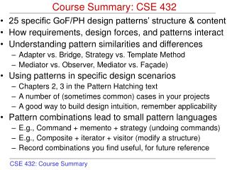 Course Summary: CSE 432