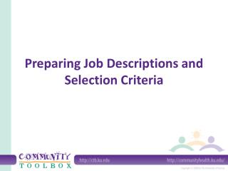 Preparing Job Descriptions and Selection Criteria