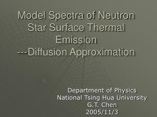 Model Spectra of Neutron Star Surface Thermal Emission ---Diffusion Approximation