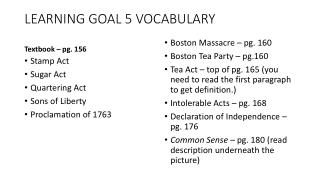 LEARNING GOAL 5 VOCABULARY