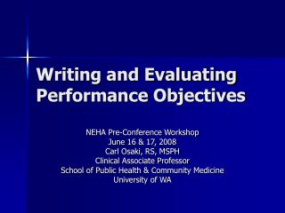 Writing and Evaluating Performance Objectives