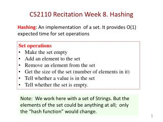 CS2110 Recitation Week  8.  Hashing