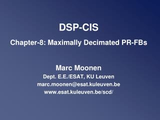 DSP-CIS Chapter-8: Maximally Decimated PR-FBs