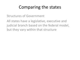 Comparing the states