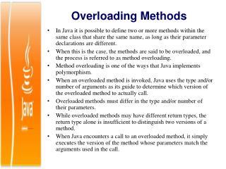 Overloading Methods