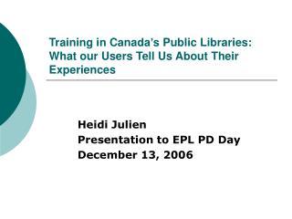 Training in Canada