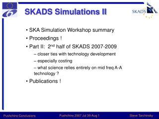 SKADS Simulations II